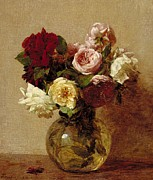 Floral Arrangement Paintings - Roses by Ignace Henri Jean Fantin-Latour