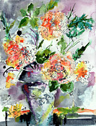 Watercolor And Ink Paintings - Roses Impressionists Heirloom Watercolor Still Life  by Ginette Callaway