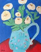 Vintage Painter Framed Prints - Roses In A Blue Pitcher Framed Print by Venus