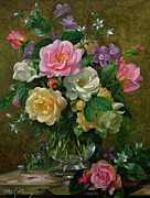 Colorful Blooms Posters - Roses in a glass vase Poster by Albert Williams