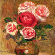 Impressionist Vase Floral Paintings - Roses in a Pot by Pierre Auguste Renoir