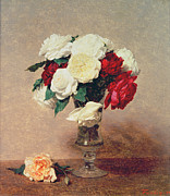 Nineteenth Century Art - Roses in a Vase with Stem by Ignace Henri Jean Fantin-Latour