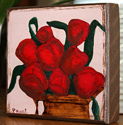 Wood Art Block Originals - Roses in Pitcher Pyrography by Penny Hunt