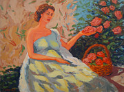 Most Popular Paintings - Roses in the garden by Monica Caballero