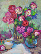 Wine Glasses Painting Originals - Roses In Two Vases by Diane McClary