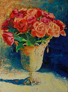 Thomas Bertram Poole Metal Prints - Roses In Wire Vase Metal Print by Thomas Bertram POOLE
