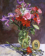 Table Cloth Painting Metal Prints - Roses Irises And Gerbras Metal Print by  David Lloyd Glover