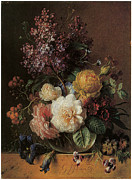 Os Paintings - Roses Lilacs Sweet William and Other Flowers by Georgius Jacobus Johannes Van Os