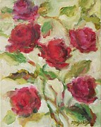 Raw Umber Metal Prints - Roses Metal Print by Mary Wolf