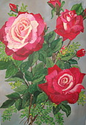 Plant Greeting Cards Painting Framed Prints - Roses n Rain Framed Print by Sharon Duguay