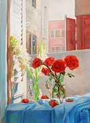 Life In Italy Prints - Roses on my Husbands scarf Print by Natalia Baykalova