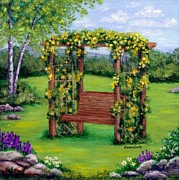 Sandra Estes - Roses On The Arbor Swing