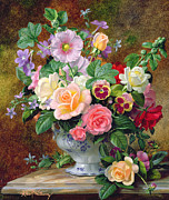 Yellow And Red Prints - Roses pansies and other flowers in a vase Print by Albert Williams