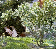 White Roses Prints - Roses Print by Peder Severin Kroyer