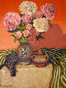 Most Popular Paintings - Roses peonies and grapes by Monica Caballero