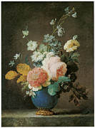 Blue Vase Painting Posters - Roses Ranunculus and other Flowers Poster by Anne Vallayer-Coster