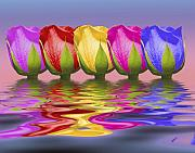Colorful Photo Metal Prints - Roses Rising Metal Print by Tom Mc Nemar