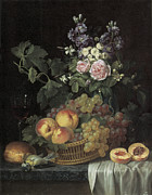 Still-life With Peaches Prints - Roses stocks Jasmine and other flowers in a vase Print by Jean-pierre-xavier Bidauld