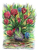 Pen And Ink Drawing Prints - Roses style Van Gogh Print by Mario  Perez