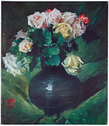 Beautiful Flowers Paintings - Roses by William Merritt Chase