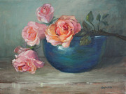 Phthalo Blue Paintings - Roses with Barium Glazed Bowl by Sue Cervenka