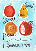 Family Mixed Media Prints - Rosh Hashanah Blessings Print by Linda Woods