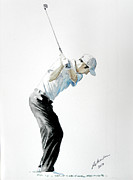 Pga European Tour Prints - Ross Fisher Swing Portrait Watercolour Print by Mark Robinson