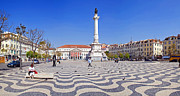 Pavement Photos - Rossio Square in Lisbon by Lusoimages