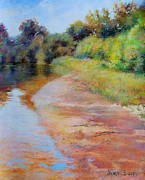 Autumn Landscape Drawings - Rosy River by Nancy Stutes