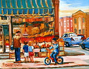 Store Fronts Framed Prints - Roters Fifties Fruit Store Vintage Montreal City Scene Paintings Framed Print by Carole Spandau