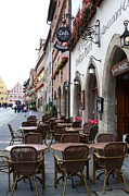 European Cafes Posters - Rothenburg Cafe Poster by Carol Groenen