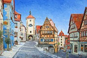 Germany Painting Posters - Rothenburg Germany Poster by Mike Rabe