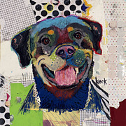 Abstract Of Dogs Mixed Media - Rottweiler by Michel  Keck
