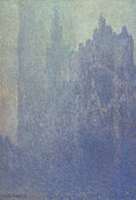 Mist Painting Posters - Rouen Cathedral Foggy Weather Poster by Claude Monet