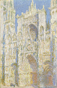 Gothic Architecture Framed Prints - Rouen Cathedral West Facade Framed Print by Claude Monet