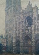 Portal Painting Framed Prints - Rouen Cathedral West Portal Grey Weather Framed Print by Claude Monet