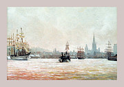Rouen-tall Ships Print by Caroline Beaumont