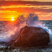 New England Sunset Photos - Rough Sea Square by Bill  Wakeley