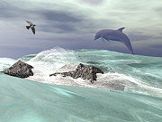 Storm Digital Art Originals - Rough Seas by Michele Wilson