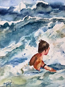 Teen Painting Originals - Rough Surf  by Barbara Jung