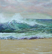 Beach Prints Pastels Prints - Rough Surf Print by Joanne Grant
