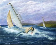 Catherine White Painting Metal Prints - Rough Water Sailing Metal Print by Catherine Howard