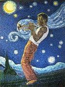 Miles Davis Painting Originals - Round A Starry Midnight by Jeffries Moore