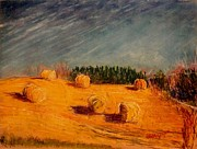 Bales Pastels - Round Bales on 450 by Tim  Swagerle