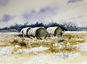 Hay Bales Painting Framed Prints - Round Bales Framed Print by Sam Sidders