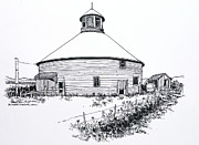 Indiana Drawings Prints - Round Barn Park County Indiana Print by Robert Birkenes