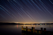 Startrails Posters - Round Bay Startrails and a Meteor Shower Poster by Benjamin Reed