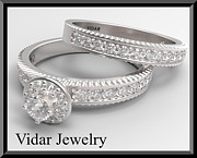 14k Jewelry - Round Diamond 14k White Gold Wedding Ring And Engagement Ring Set by Roi Avidar