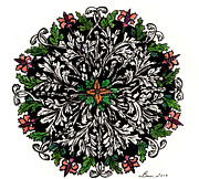 Round Drawings Prints - Round flower design Print by Beverly Farrington