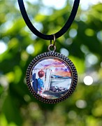Watercolor Jewelry Originals - Round Glass Art Pendant with Miniature Painting of Boy and Sunset by Maureen Dean